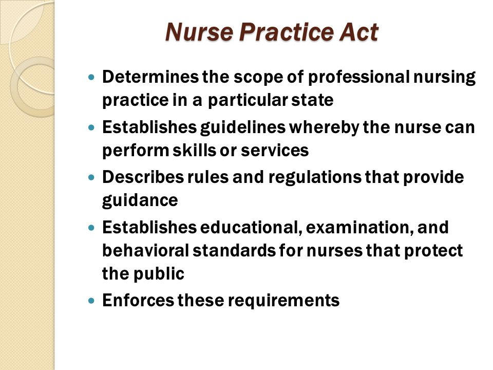 Nurse Practice Act Determines the scope of professional nursing practice in a particular state.