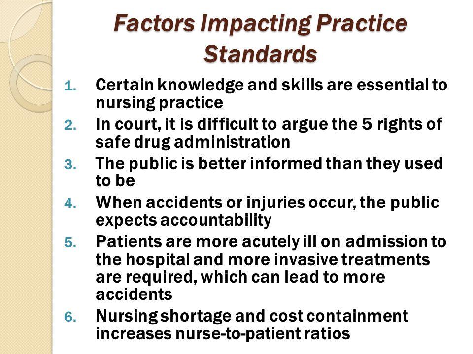 Factors Impacting Practice Standards