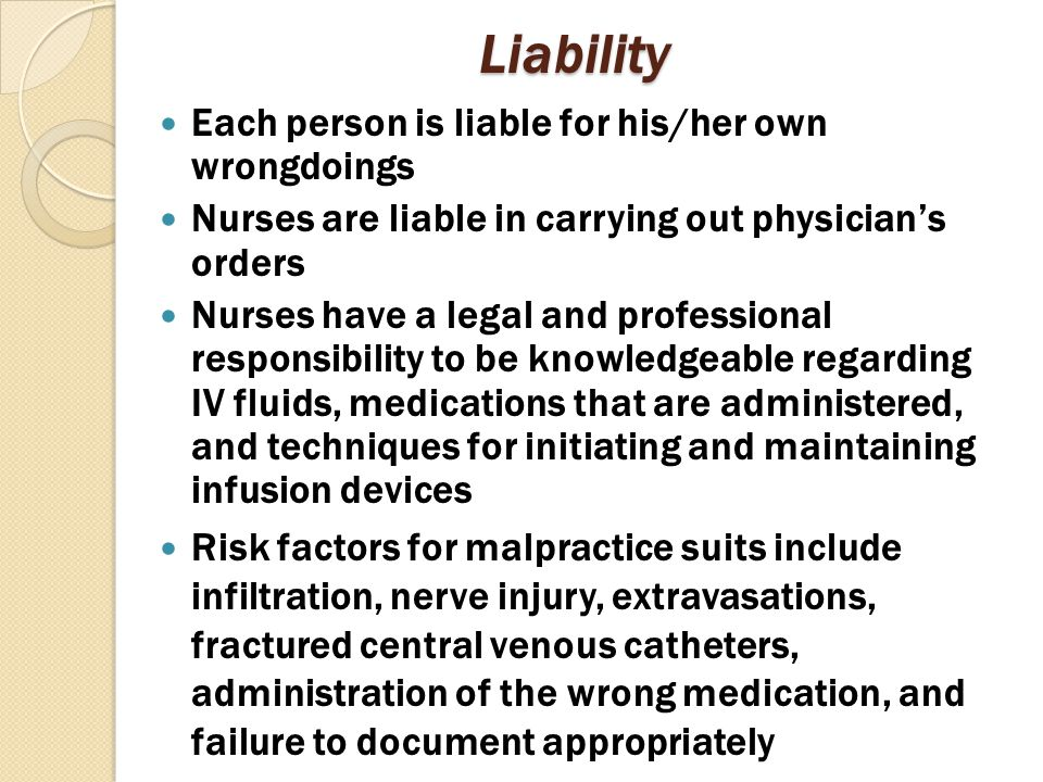 Liability Each person is liable for his/her own wrongdoings