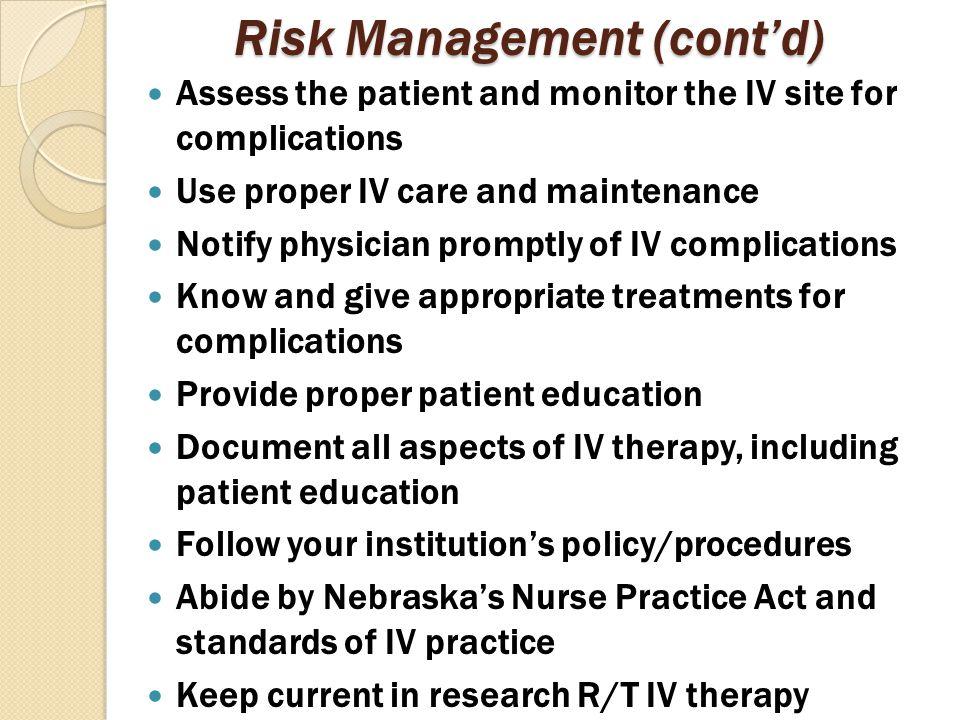 Risk Management (cont'd)