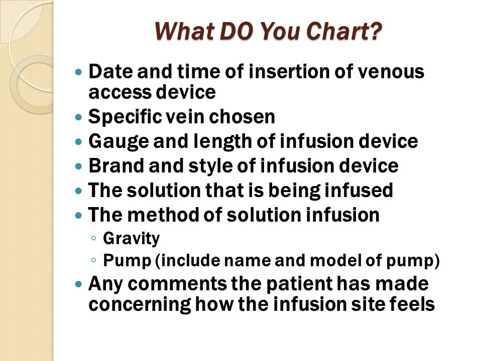 What DO You Chart Date and time of insertion of venous access device