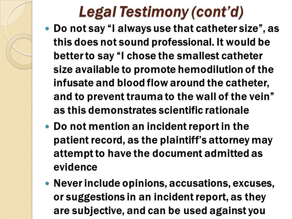 Legal Testimony (cont'd)