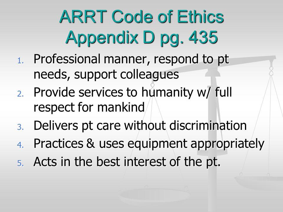 ARRT Code of Ethics Appendix D pg. 435