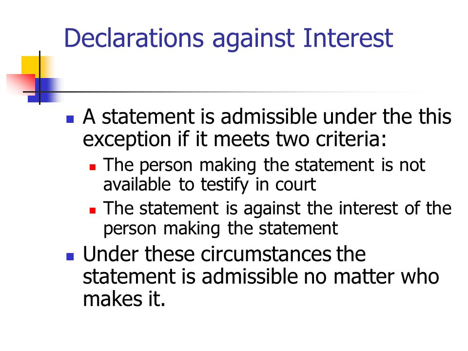 Declarations against Interest