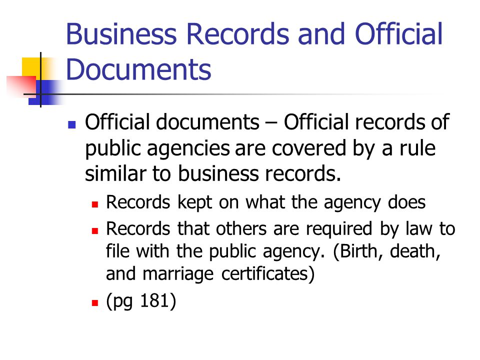 Business Records and Official Documents