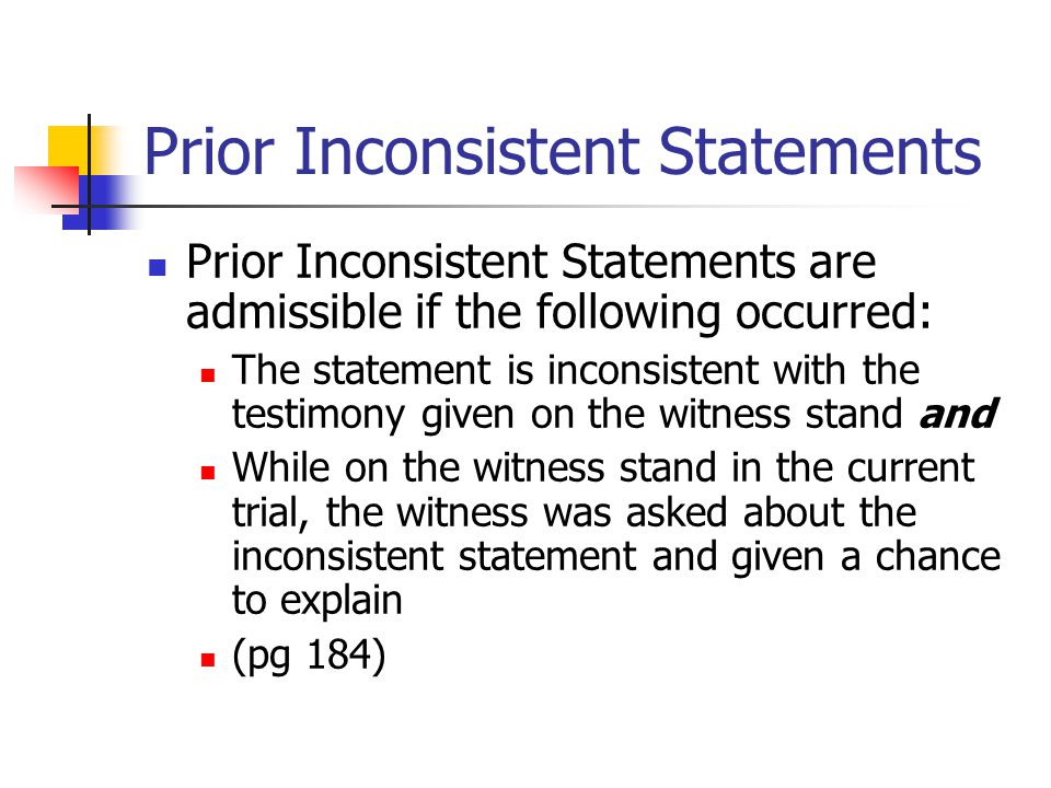 Prior Inconsistent Statements