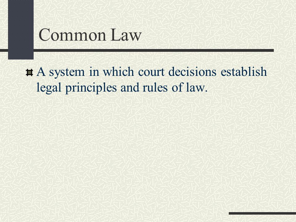 Common Law A system in which court decisions establish legal principles and rules of law.