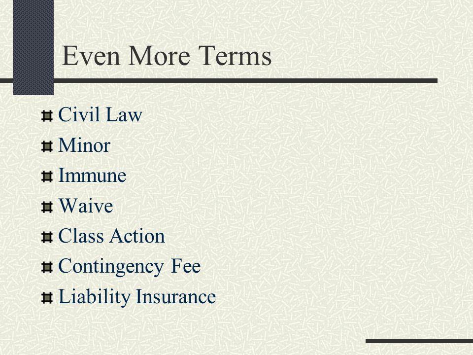 Even More Terms Civil Law Minor Immune Waive Class Action