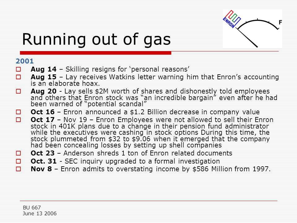 Running out of gas 2001. Aug 14 – Skilling resigns for 'personal reasons'