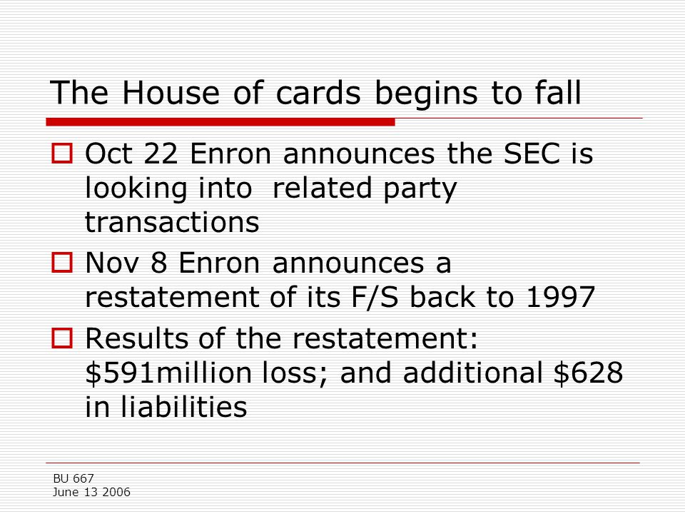 The House of cards begins to fall