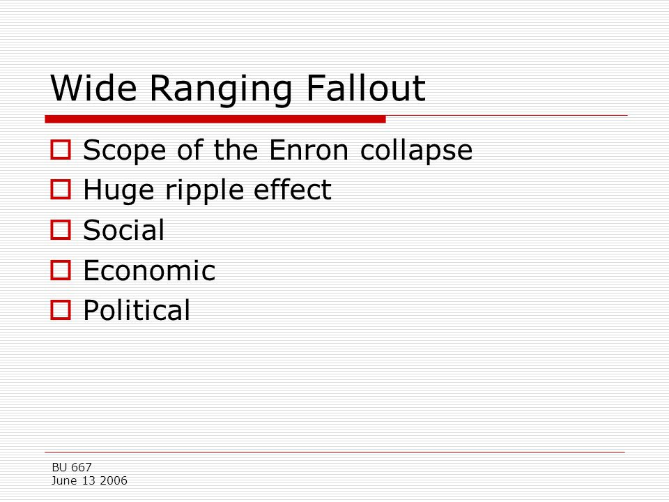 Wide Ranging Fallout Scope of the Enron collapse Huge ripple effect