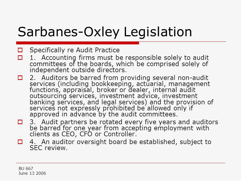 Sarbanes-Oxley Legislation