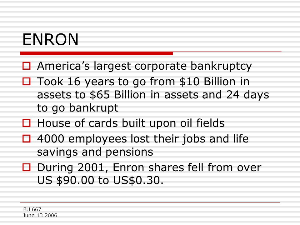 ENRON America's largest corporate bankruptcy