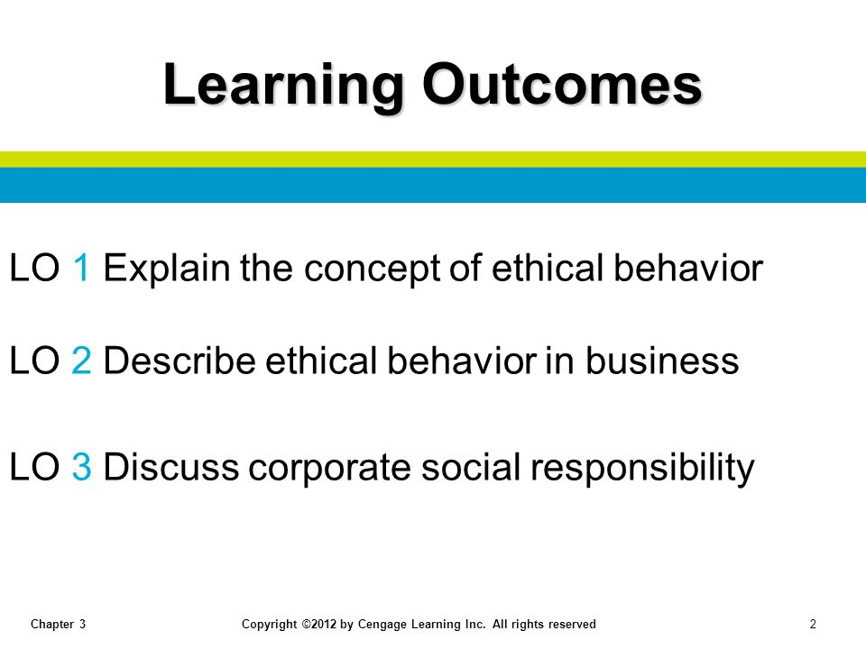 Learning Outcomes LO 1 Explain the concept of ethical behavior