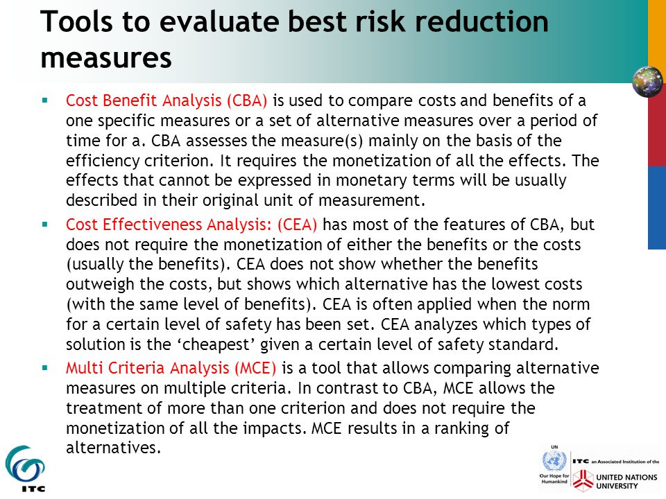 Tools to evaluate best risk reduction measures
