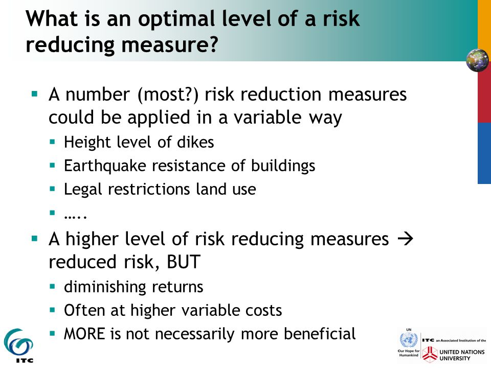 What is an optimal level of a risk reducing measure