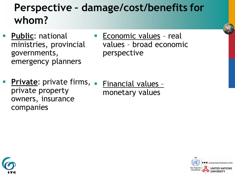 Perspective – damage/cost/benefits for whom