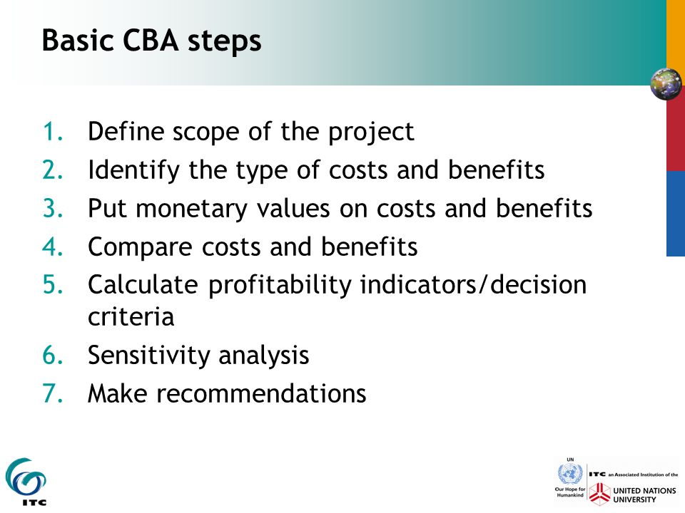 Basic CBA steps Define scope of the project
