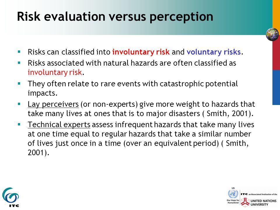 Risk evaluation versus perception
