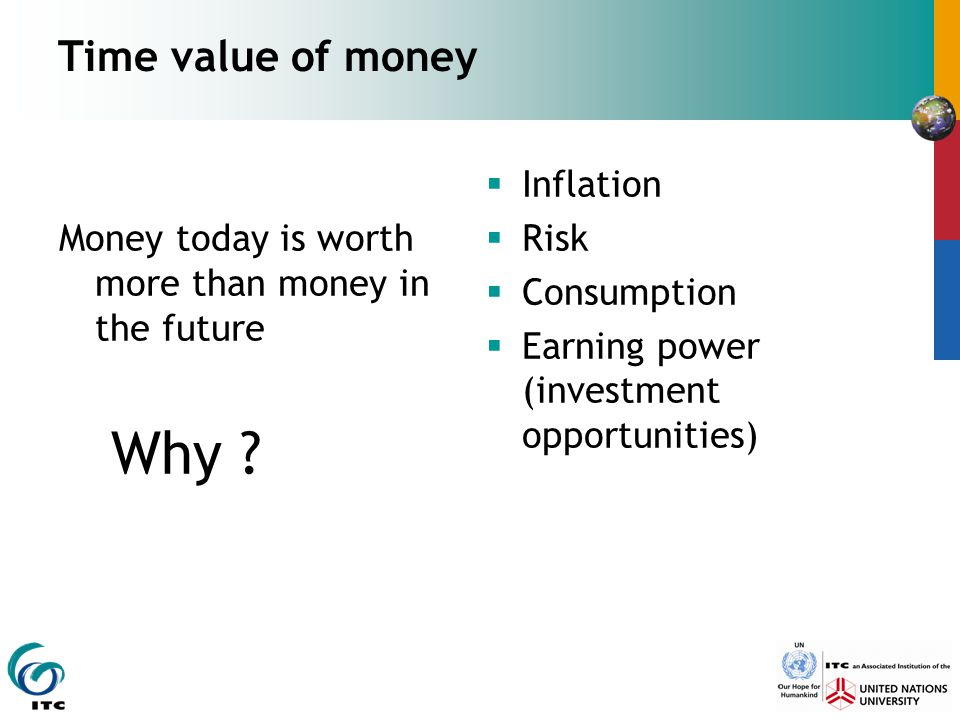 14 April 2017 Time value of money. Money today is worth more than money in the future. Why Inflation.
