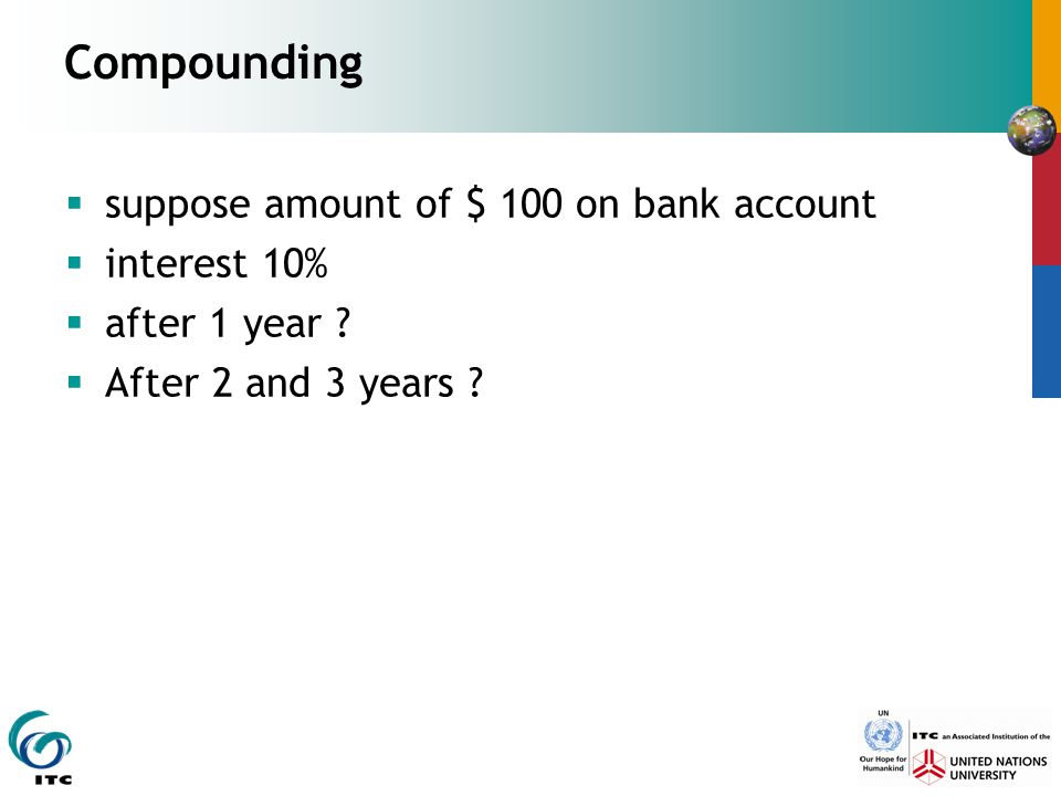 Compounding suppose amount of $ 100 on bank account interest 10%