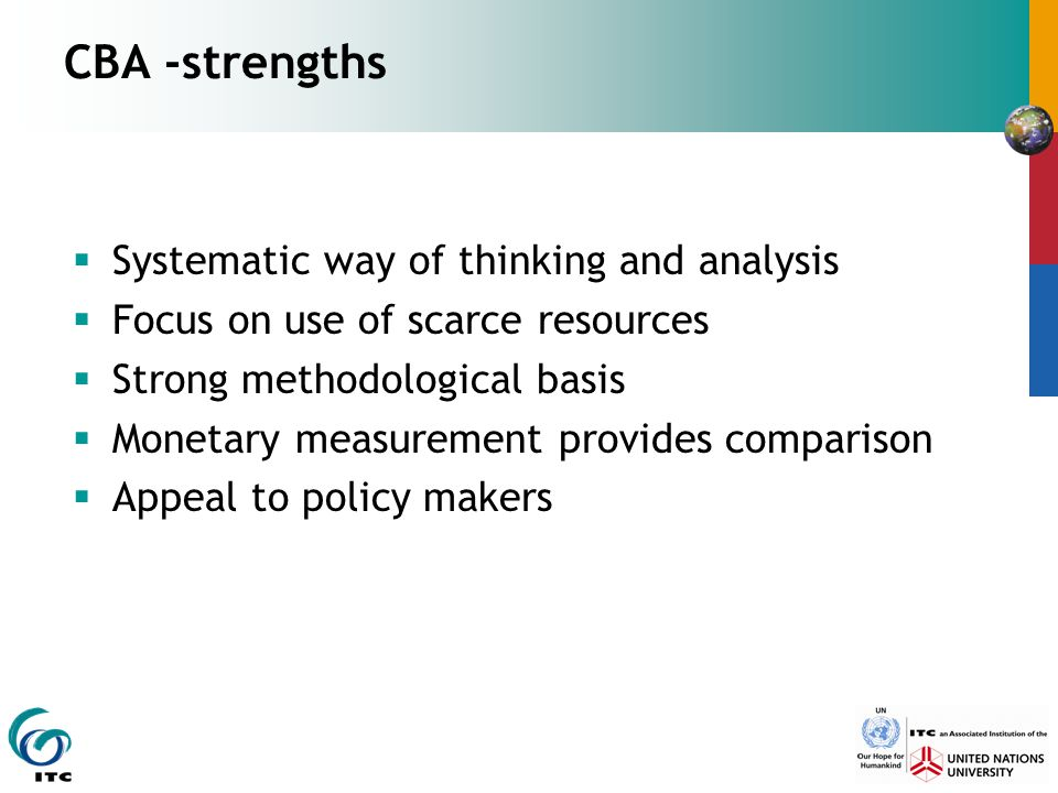 CBA -strengths Systematic way of thinking and analysis