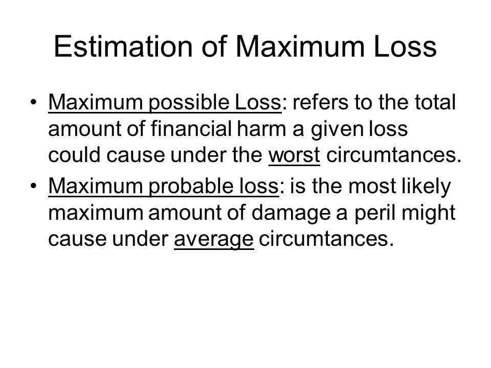 Estimation of Maximum Loss