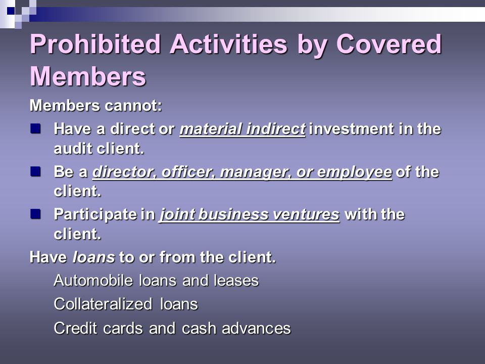 Prohibited Activities by Covered Members