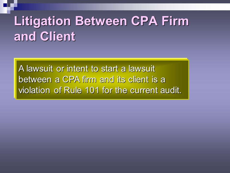 Litigation Between CPA Firm and Client