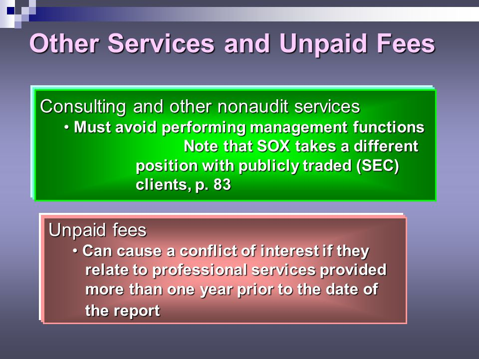 Other Services and Unpaid Fees