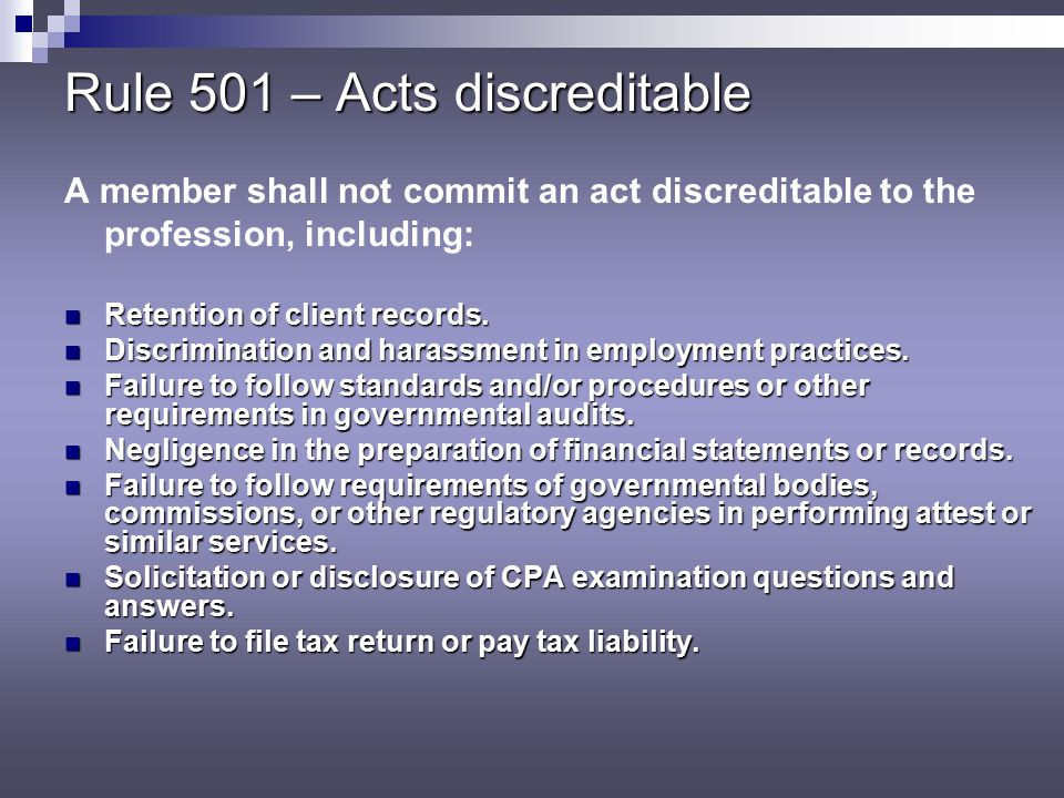 Rule 501 – Acts discreditable