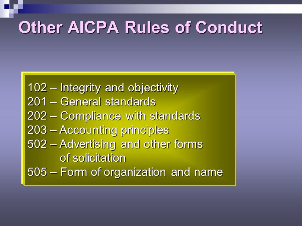 Other AICPA Rules of Conduct