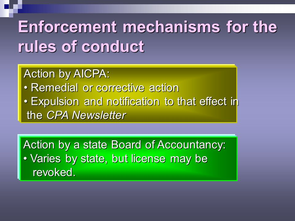 Enforcement mechanisms for the rules of conduct