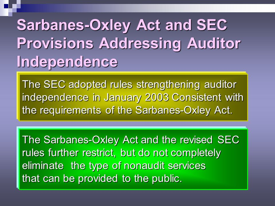 Sarbanes-Oxley Act and SEC Provisions Addressing Auditor Independence