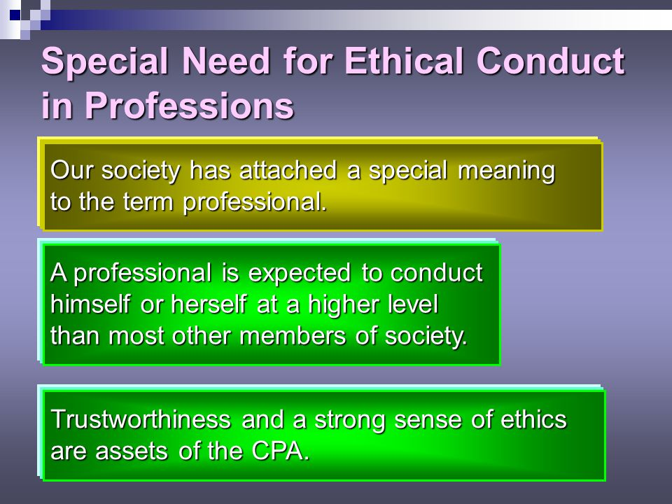 Special Need for Ethical Conduct in Professions
