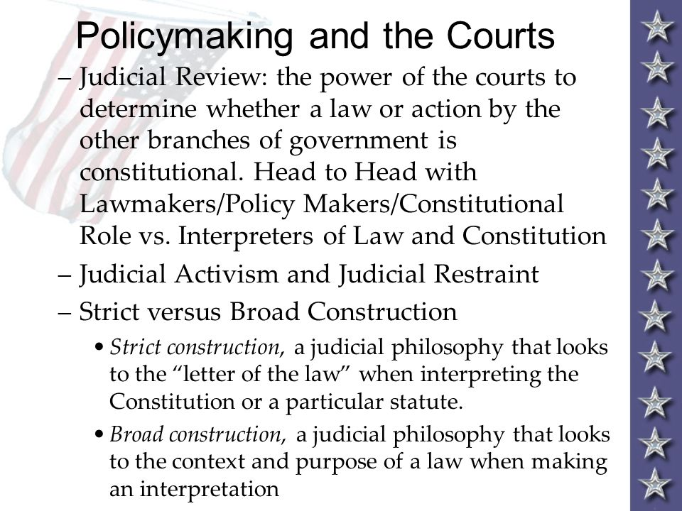 Policymaking and the Courts