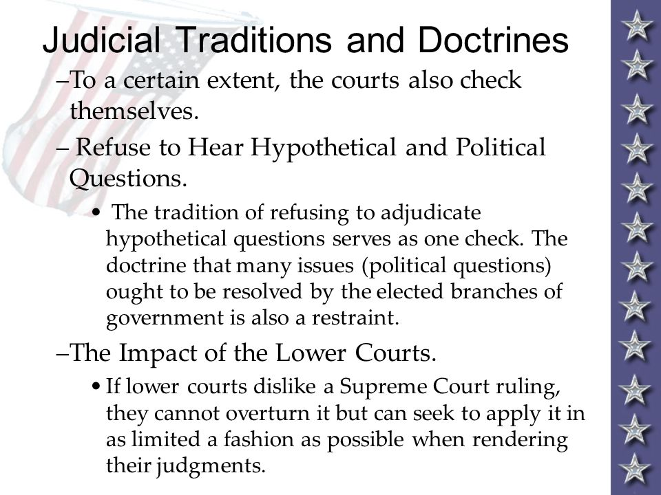 Judicial Traditions and Doctrines