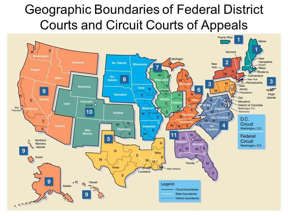 Geographic Boundaries of Federal District Courts and Circuit Courts of Appeals