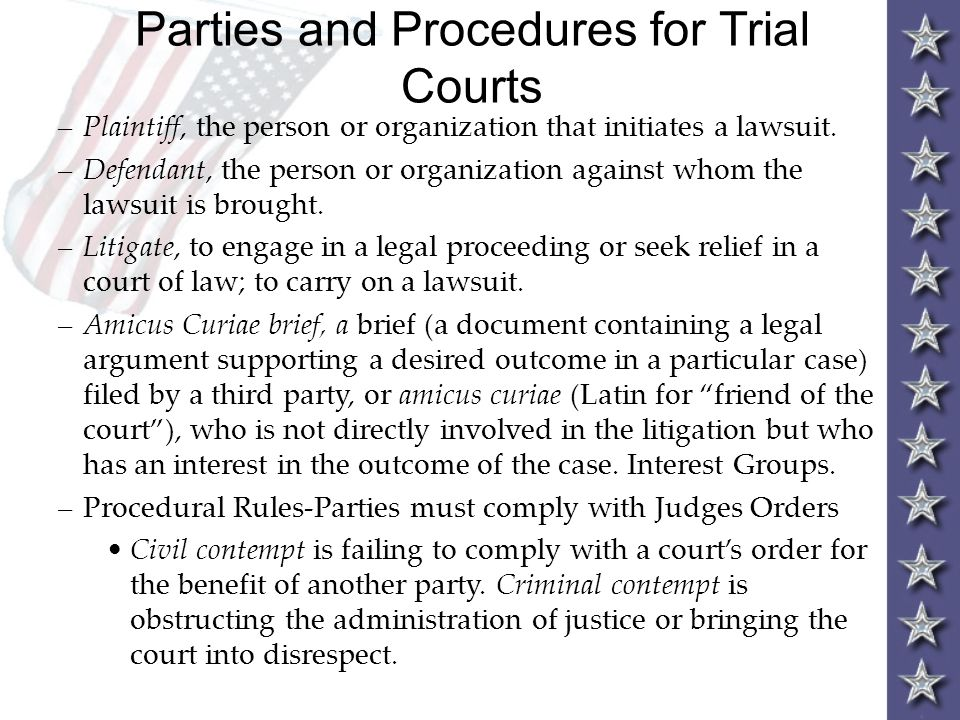 Parties and Procedures for Trial Courts