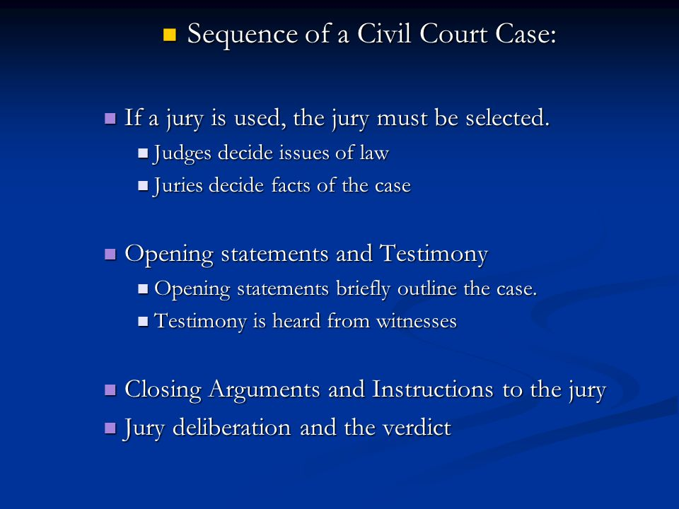Sequence of a Civil Court Case:
