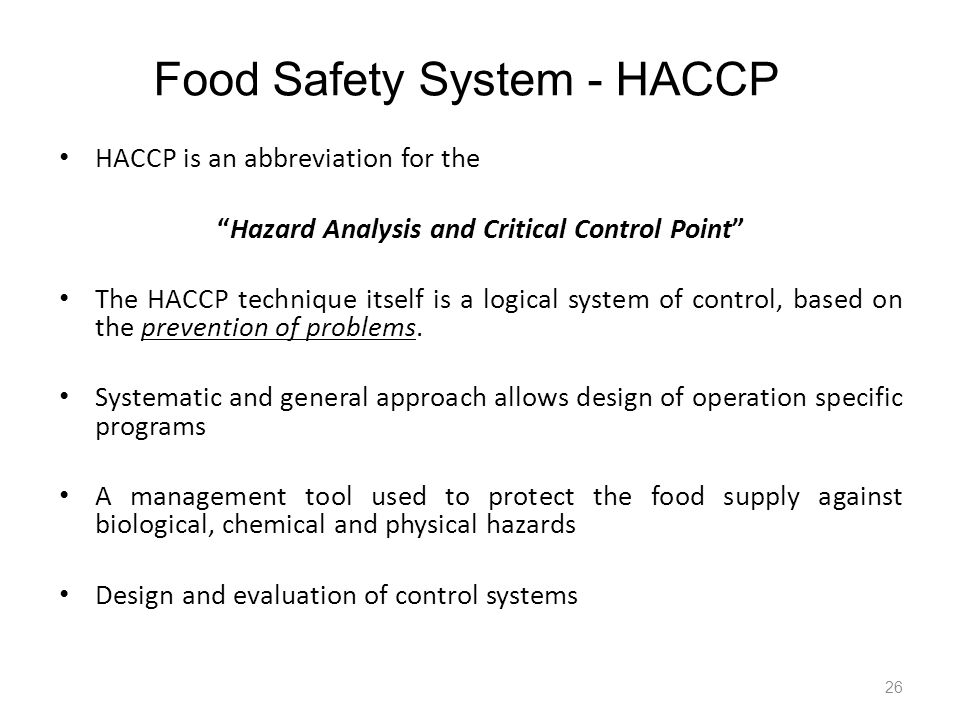 Food Safety System - HACCP