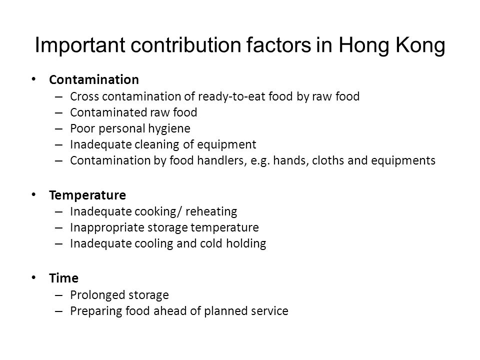 Important contribution factors in Hong Kong