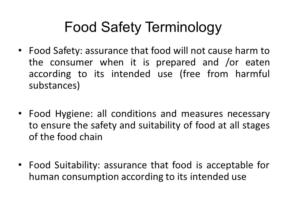 Food Safety Terminology
