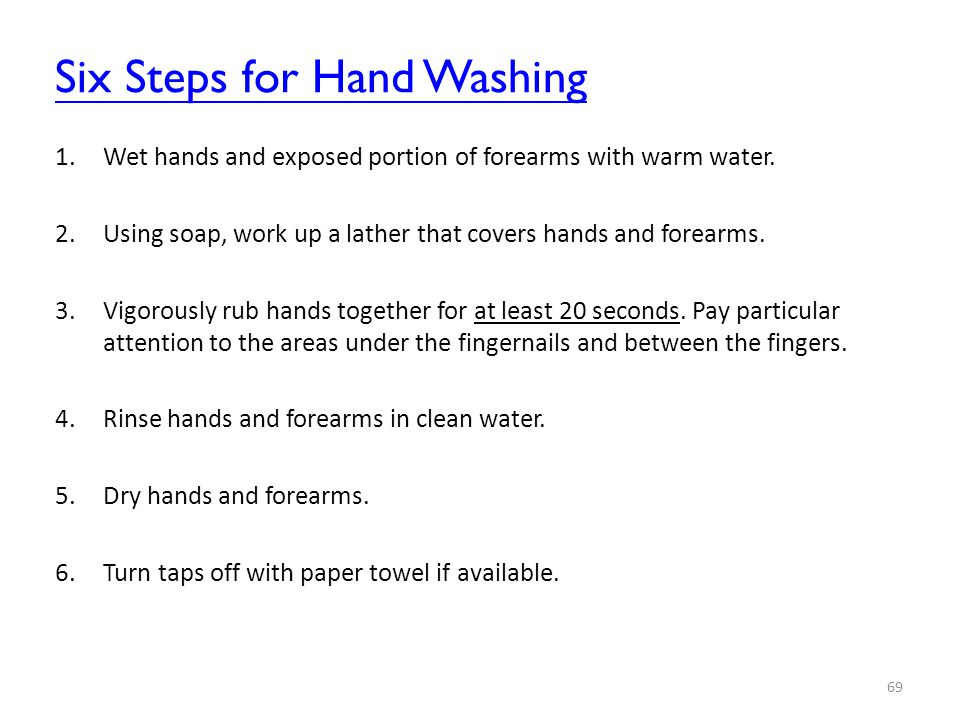 Six Steps for Hand Washing