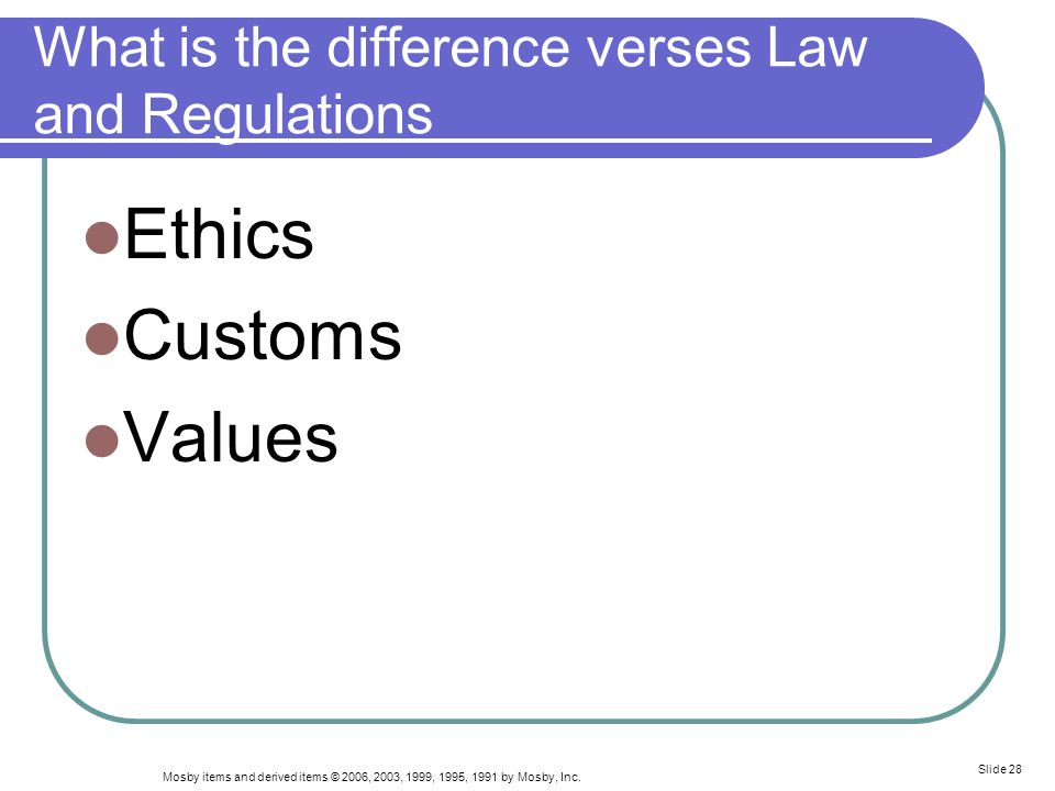 What is the difference verses Law and Regulations