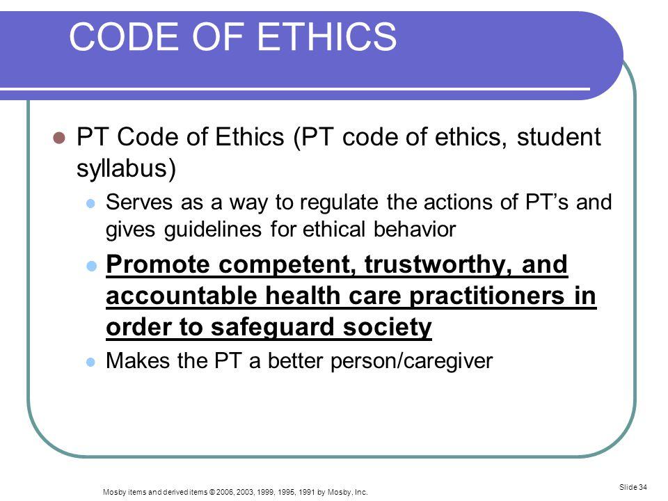 CODE OF ETHICS PT Code of Ethics (PT code of ethics, student syllabus)