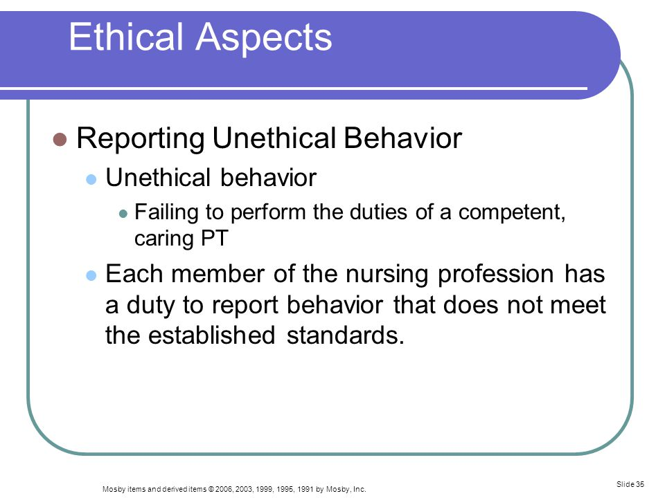 Ethical Aspects Reporting Unethical Behavior Unethical behavior