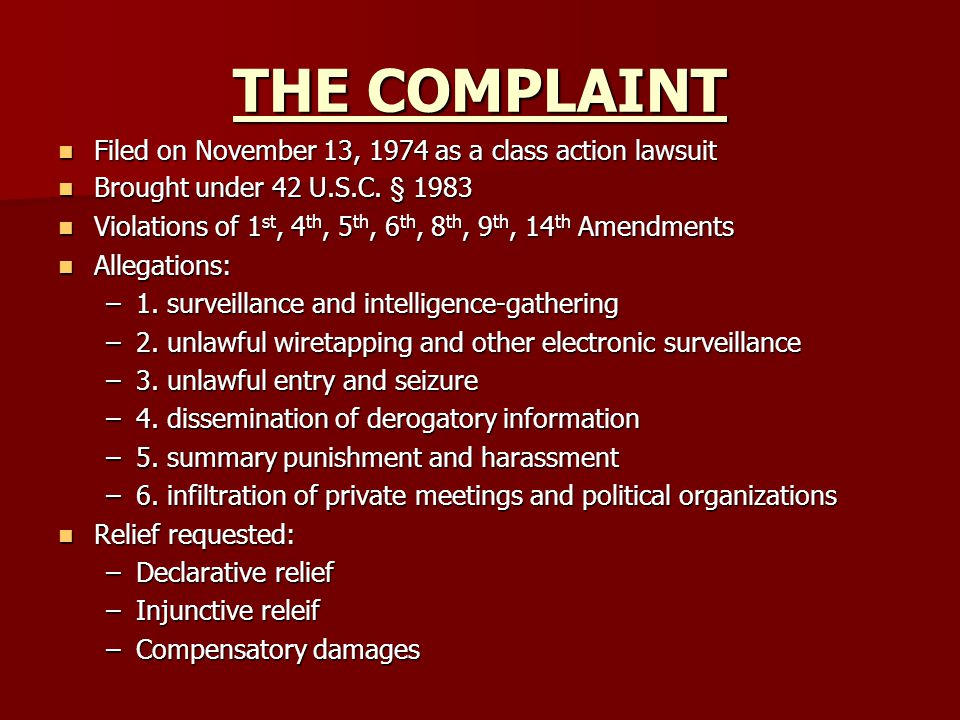 THE COMPLAINT Filed on November 13, 1974 as a class action lawsuit