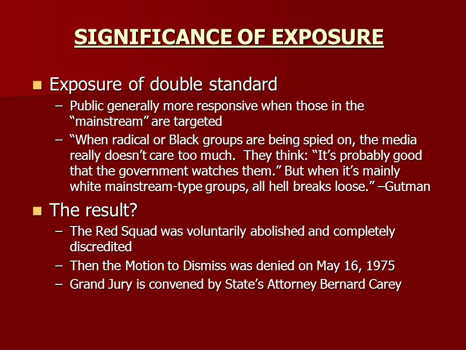 SIGNIFICANCE OF EXPOSURE