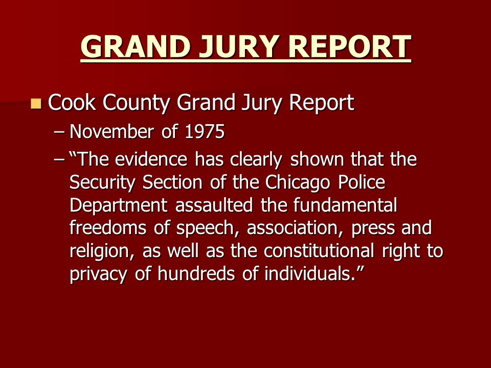 GRAND JURY REPORT Cook County Grand Jury Report November of 1975